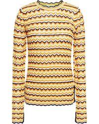 Victoria, Victoria Beckham Scalloped-trimmed Crochet-knit Jumper - Orange