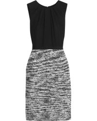 Oscar de la Renta - Silk Crepe De Chine And Bouclé-tweed Dress - Lyst
