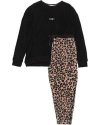 DKNY Embroidered Printed Fleece Pyjama Set Black