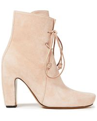 Lanvin - Lace-up Suede Ankle Boots - Lyst