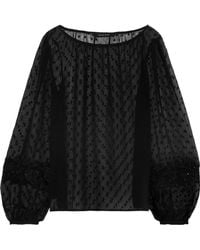 W118 by Walter Baker - Woman Embellished Fil Coupé Chiffon Top Black - Lyst