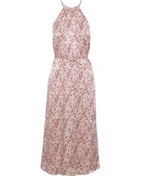 Joie Printed Hammered-satin Midi Dress Baby Pink