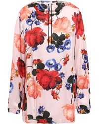 Mother Of Pearl Floral-print Satin Hooded Top Baby Pink