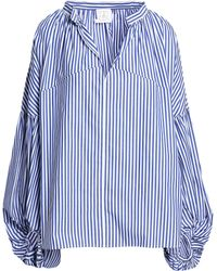 Stella Jean - Gathered Striped Cotton-poplin Blouse Blue - Lyst