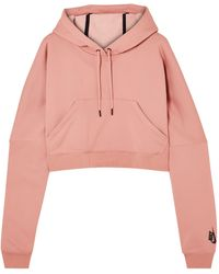 Nike Lab Cropped Cotton-blend Jersey Hooded Top Antique Rose - Pink