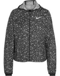Nike Shield Printed Shell Hooded Jacket - Gray