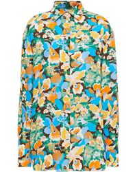 M Missoni Paneled Floral-print Satin-twill And Crepe Shirt - Blue
