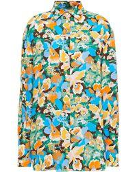 M Missoni Hemd mit einsätzen aus glänzendem twill und crêpe mit floralem print - Blau