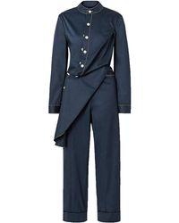 Monse Draped Cotton-blend Twill Jumpsuit - Blue