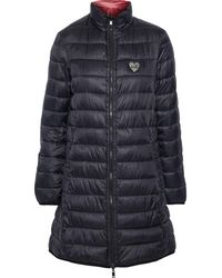 Love Moschino Reversible Appliquéd Printed Quilted Shell Coat Black