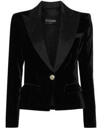 Balmain Satin-trimmed Velvet Blazer - Black