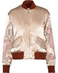 Ganni - Leclair Embroidered Satin Bomber Jacket Sand - Lyst