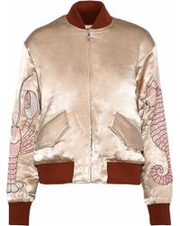 Ganni - Leclair Embroidered Satin Bomber Jacket - Lyst