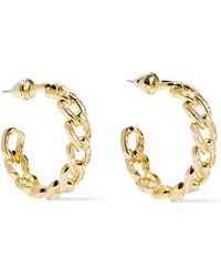Noir Jewelry Chain Gang Small Gold-plated Crystal Hoop Earrings Gold - Metallic