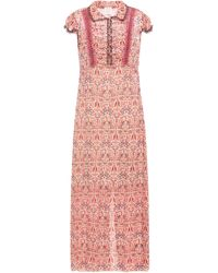 Anna Sui Ruched Metallic Printed Fil Coupé Chiffon Maxi Dress Peach - Pink