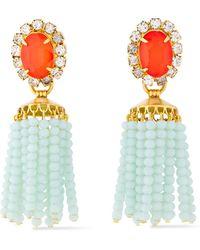 Elizabeth Cole 24-karat Gold-plated, Crystal, Stone And Beaded Tassel Earrings Orange