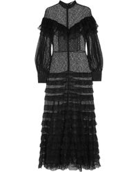 Alessandra Rich - Tiered Lace Gown - Lyst