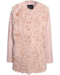 Maje Textured Leather-paneled Shearling Coat - Pink