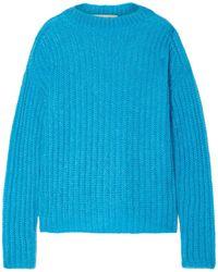 Marni Oversized Ribbed Mohair-blend Jumper - Blue