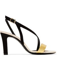 Lanvin - Metallic Leather And Satin Sandals - Lyst