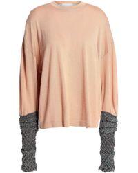 Esteban Cortazar Metallic-paneled Merino Wool, Silk And Cashmere-blend Sweater Peach - Multicolour