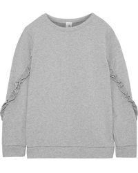 Iris & Ink Summer Ruffle-trimmed French Cotton-terry Sweatshirt - Grey
