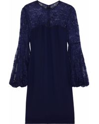 Mikael Aghal - Lace-paneled Crepe Dress - Lyst
