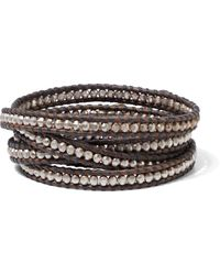 Chan Luu Sterling Silver And Leather Wrap Bracelet Chocolate - Brown
