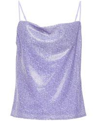 Olivia Rubin Clover Draped Sequined Printed Georgette Camisole Lavender - Blue