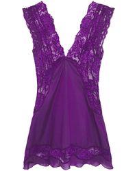 La Perla Lace-paneled Silk-blend Voile Camisole - Purple