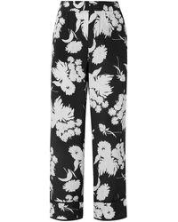 Ganni Kochhar Floral-print Silk Crepe De Chine Straight-leg Trousers - Black