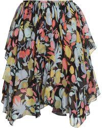Chloé - Ruffled Printed Silk-georgette Skirt - Lyst