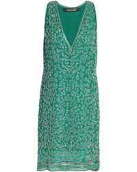 Roberto Cavalli - Bead-embellished Silk Mini Dress - Lyst