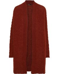 Maje Oversized Brushed Ribbed-knit Cardigan Tan - Multicolour