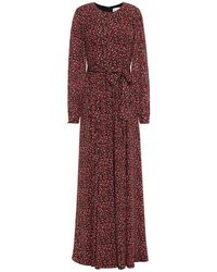 Mikael Aghal Belted Gathered Floral-print Crepe Maxi Dress