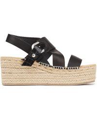 Rag & Bone August Croc-effect Leather Wedge Espadrille Sandals - Black