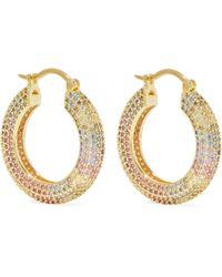 Noir Jewelry Tone Crystal Hoop Earrings - Metallic