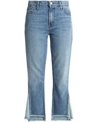 J Brand - Frayed High-rise Straight-leg Jeans - Lyst