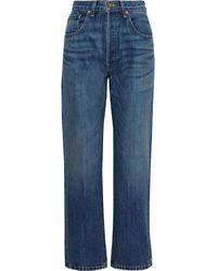 Nili Lotan Archer Faded High-rise Straight-leg Jeans Mid Denim - Blue