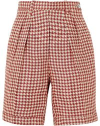 Giuliva Heritage Collection The Alana Houndstooth Linen Shorts - Red
