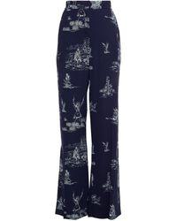 Lela Rose Printed Crepe Wide-leg Pants - Blue