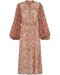 Adam Lippes Gathered printed silk-chiffon midi dress - Mehrfarbig