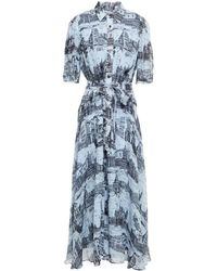 10 Crosby Derek Lam Belted Printed Georgette Maxi Shirt Dress Sky Blue