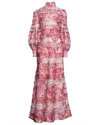 Zimmermann Bedrucktes maxikleid aus voile aus einer leinen-seidenmischung - Pink