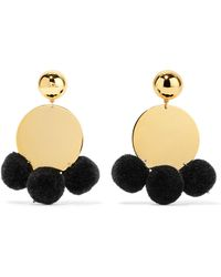 Elizabeth and James | Stevie Pompom-embellished Gold-plated Earrings | Lyst