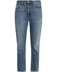Vince - Distressed Faded High-rise Slim-leg Jeans - Lyst