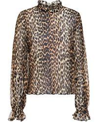 Ganni Ruffled Leopard-print Plissé-georgette Blouse Animal Print - Multicolour