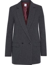Iris & Ink - Brandi Pinstriped Herringbone Cotton-blend Blazer Dark Gray - Lyst