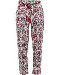 Antik Batik Belted Cotton-jacquard Tapered Trousers Cream - Multicolour