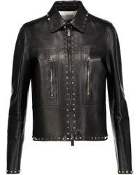 Valentino Studded Leather Jacket - Black